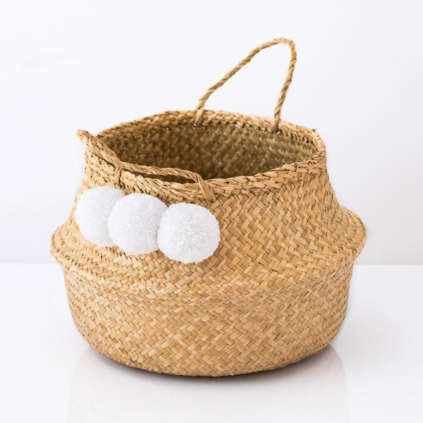 Seagrass Belly Basket With White Pom Poms