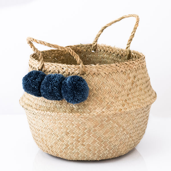 Seagrass Belly Basket With Slate Blue Pom Poms