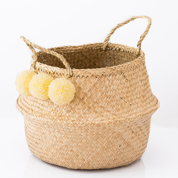 Seagrass Belly Basket With Cream Pom Poms
