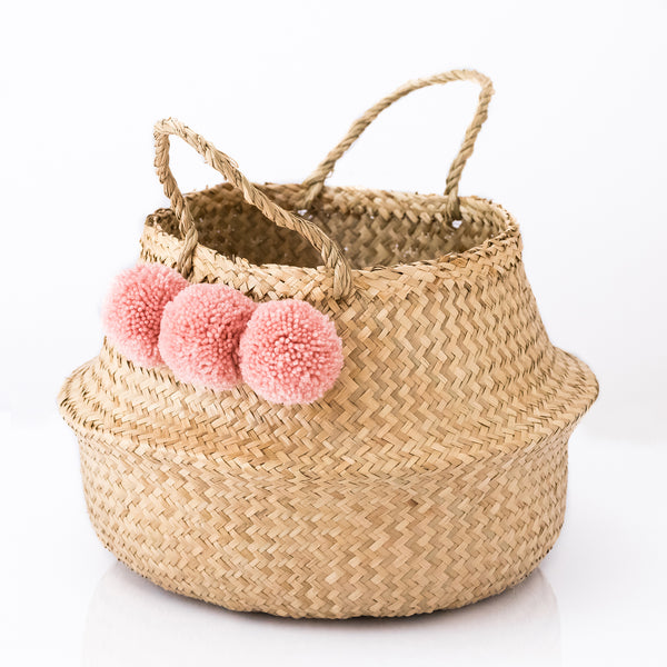 Seagrass Belly Basket With Dusky Pink Pom Poms