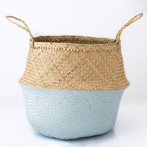 Dipped dusty blue belly basket