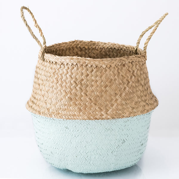 dipped mint green foldable sea grass belly basket