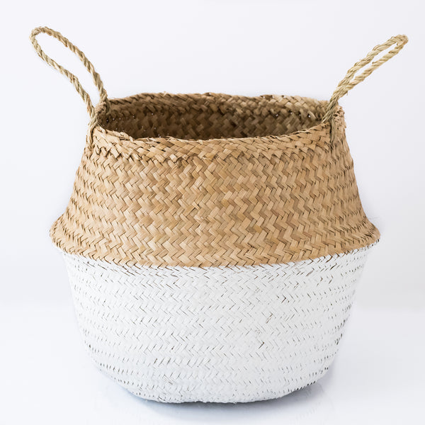 Dipped White Seagrass Belly Basket