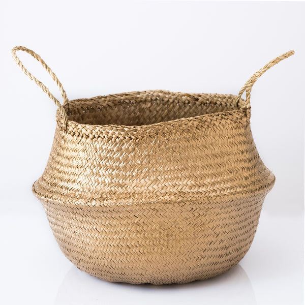 metallic gold seagrass basket