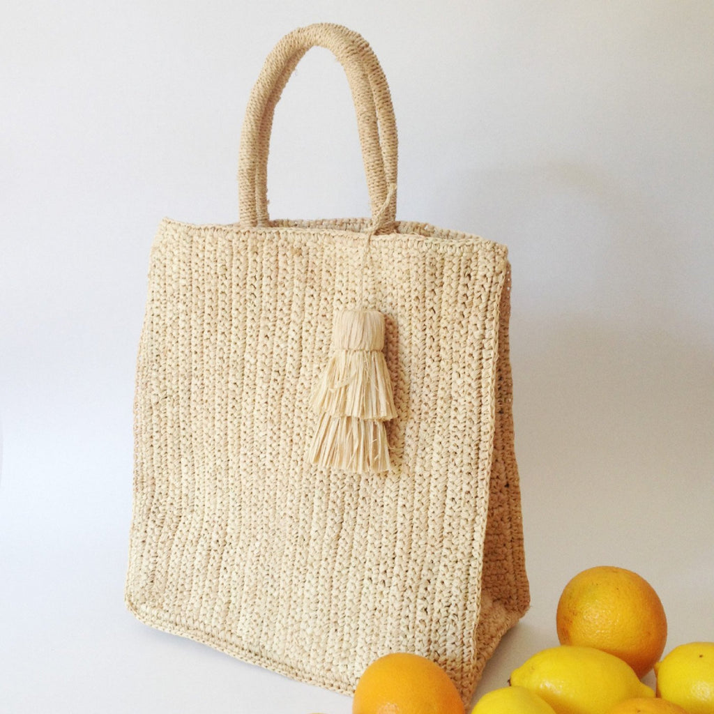 Raffia Travel Tote Bag - Tala Collections