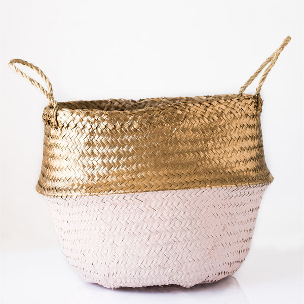 metallic gold and pink seagrass belly basket