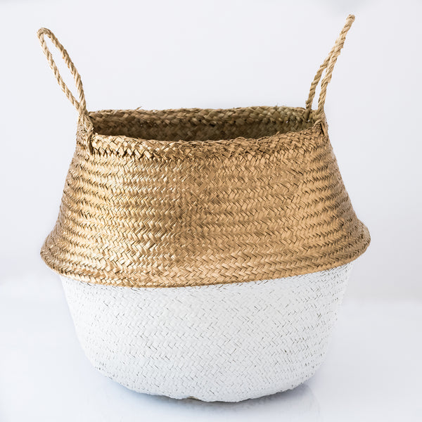 metallic gold and white sea grass belly basket