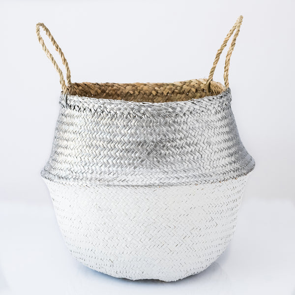 metallic silver and white belly basket