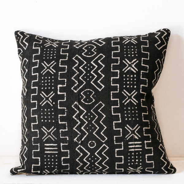 Square black mud cloth cushion