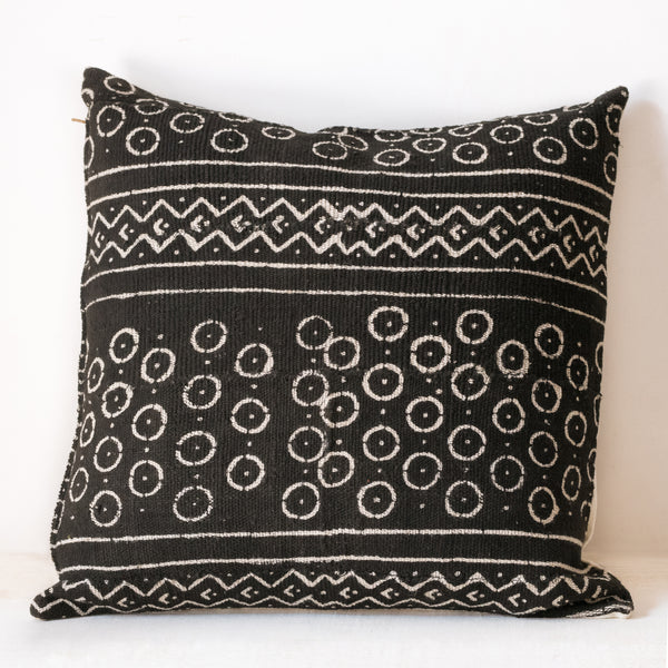 Square black mud cloth pillow
