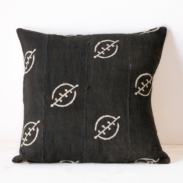 Square black mudcloth pillow