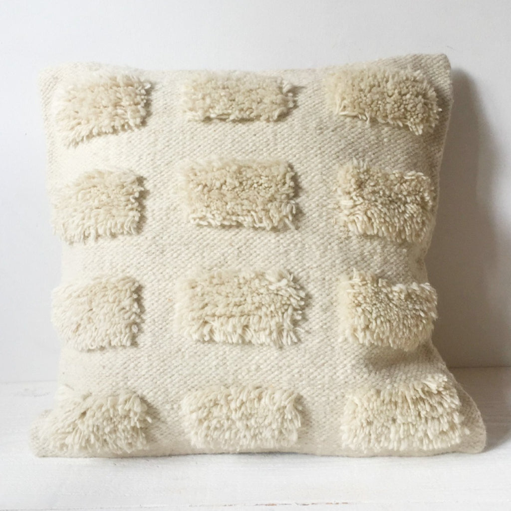 natural white textured wool pillow