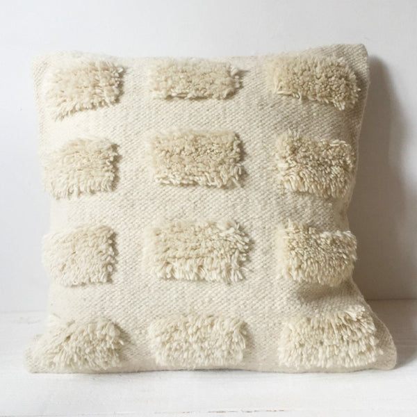 Natural Cream Textured Wool Pillow Cover - Tala Collections