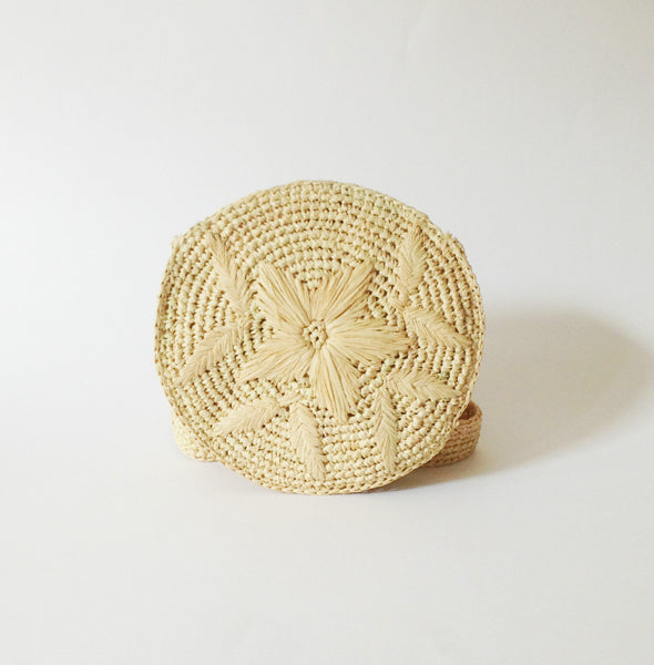 Round Raffia Belt Bag