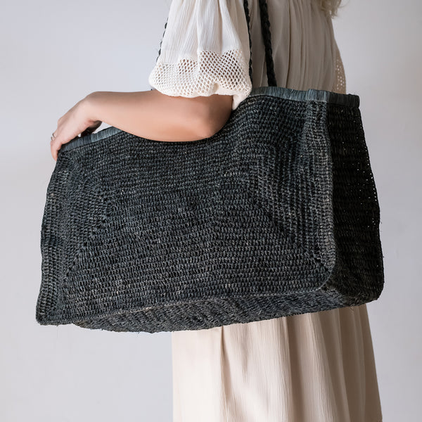charcoal grey large raffia beach bag