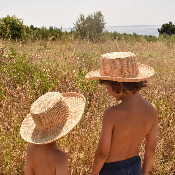 Children's Raffia Boater Hat