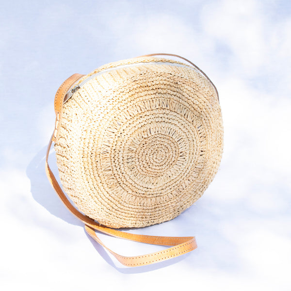 Round Raffia Shoulder/Crossbody Bag - Tala Collections