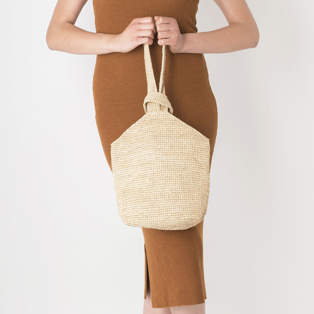 Raffia Cross Handled Tote Bag - Tala Collections
