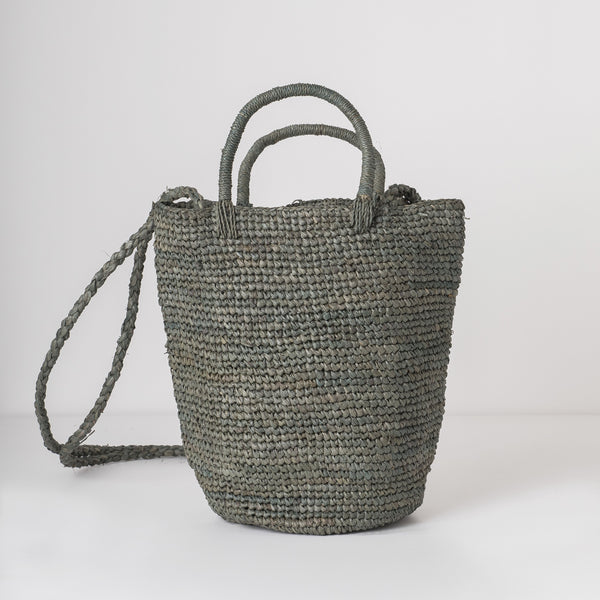 grey raffia tote bag