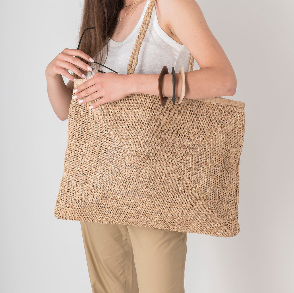 Large Raffia Bag - Tea