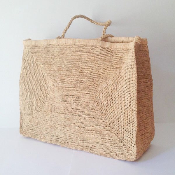 large crocheted raffia beach bag