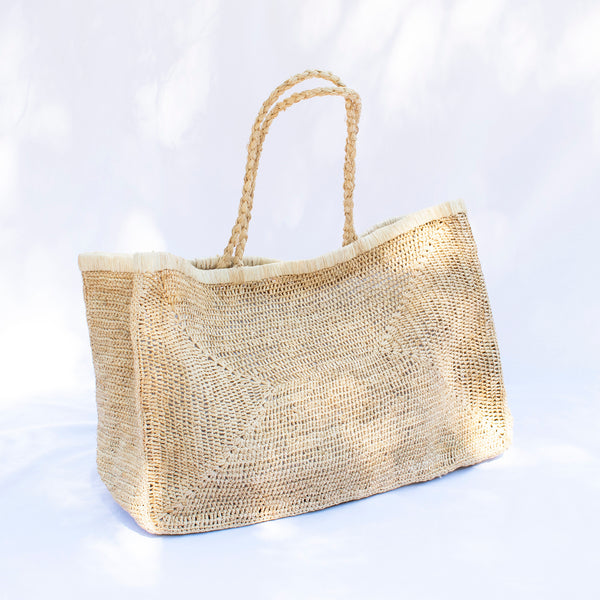 Large Crocheted Raffia Beach Bag - Natural - Tala Collections
