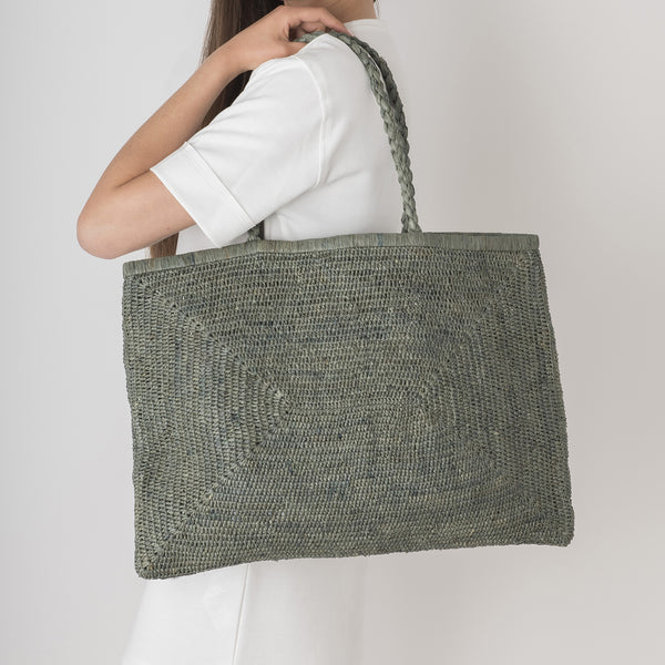 Large Raffia Bag - Petrol Grey