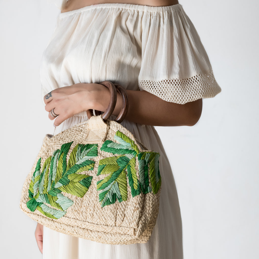Embroidered Leaves Raffia Bag | Tala Collections