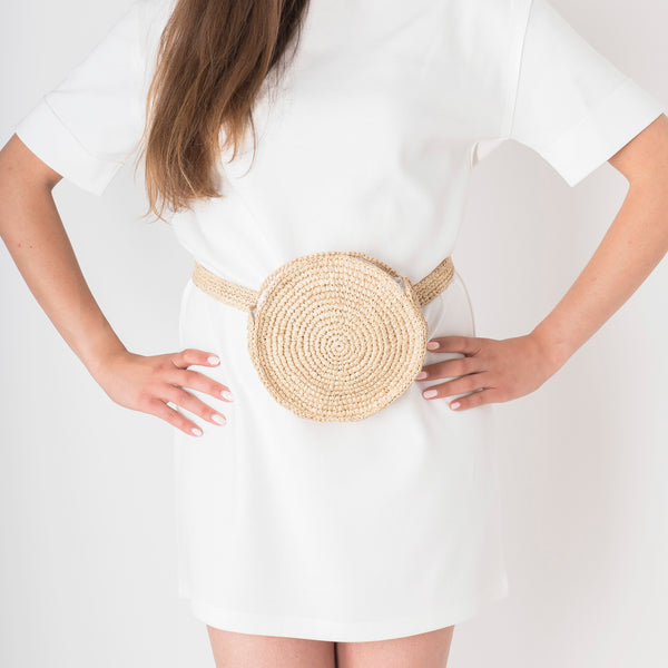 Raffia Round Belt Bag