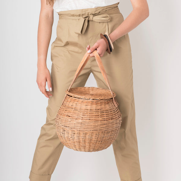 Round Rattan Basket Bag - Tala Collections