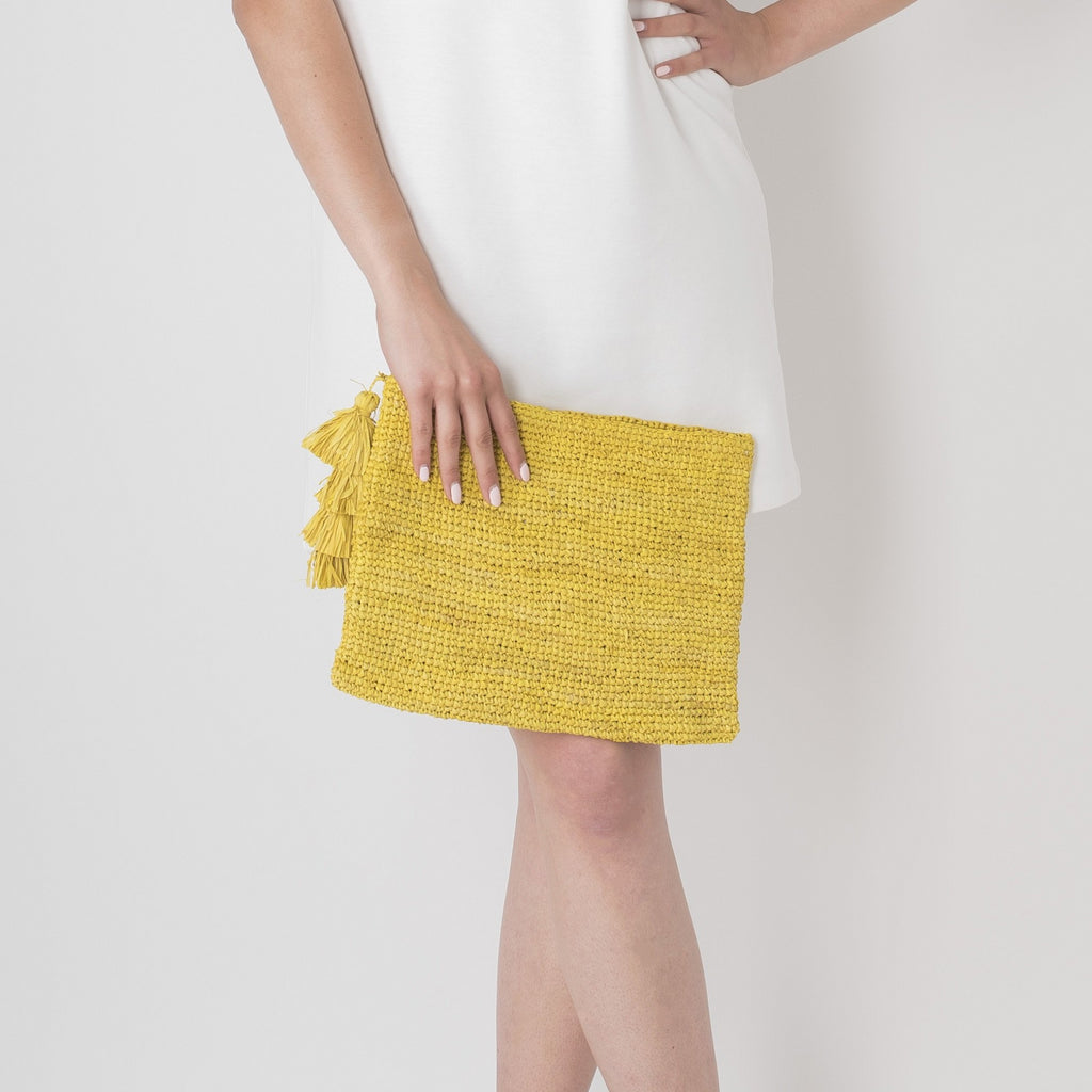 woven bright yellow clutch bag