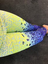 Leopard print leggings-blue/yellow