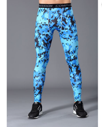 Mens Camo Tights- Blue