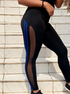 Mesh Stripe Leggings Blue