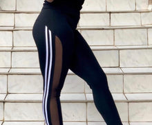 Mesh stripe leggings White