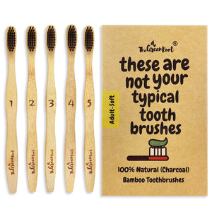 Bamboo Adult Zero Waste Toothbrush - 5 Pack sustainable eco friendly natural wooden wood plastic free