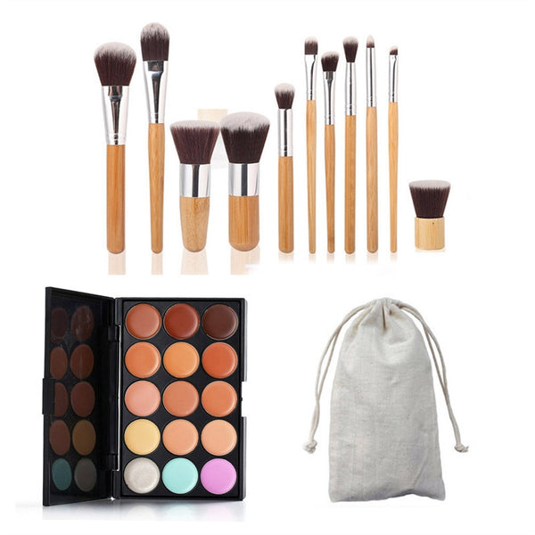 Color Palette w/ 11pcs Bamboo Brushes