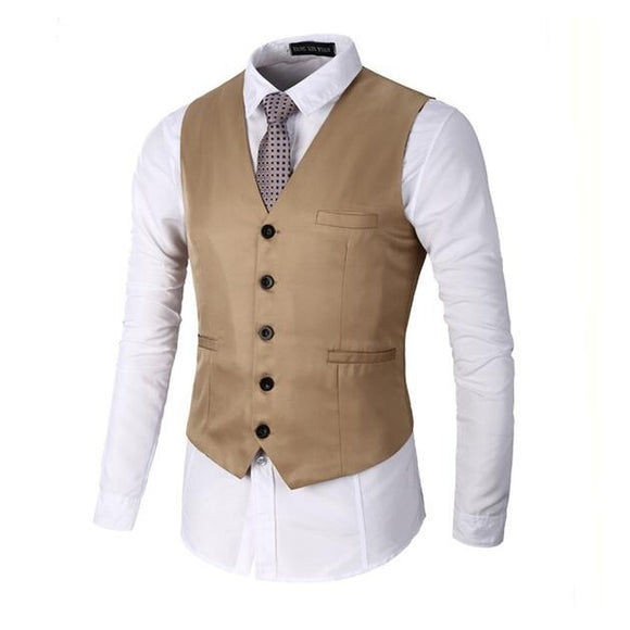 Men's Classis Slim Fit Fashion Vest,Business Waistcoat,Single-Breasted,Solid Color,Vesta