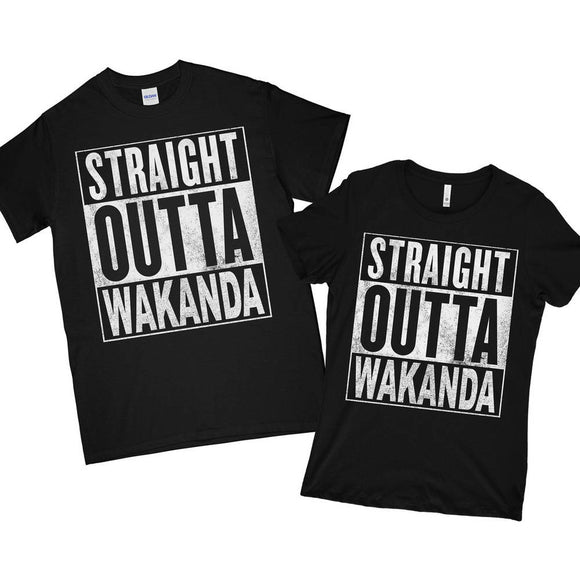 SUPERHERO Straight Outta Wakanda T-Shirt black panther