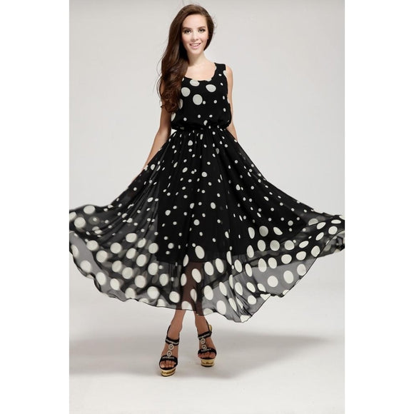 Sleeveless Chiffon Long Evening Cocktail Polka Dot Dress