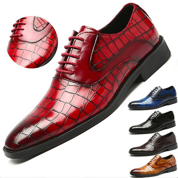 Italian Design Crocodile Pattern Genuine Leather Shoes