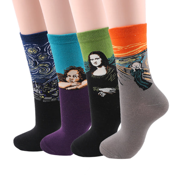 Retro Art Oil Painting Style Socks