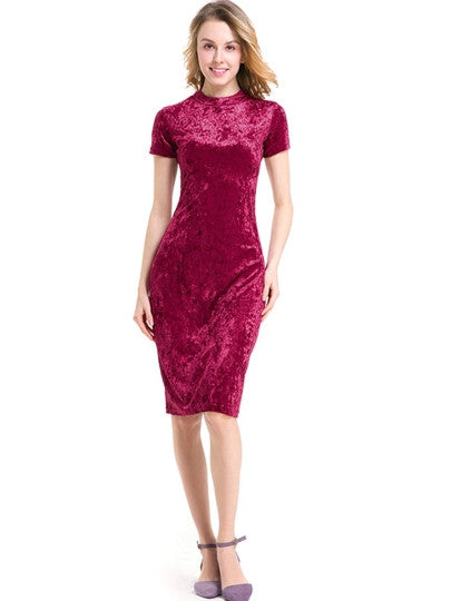Plain Velvet Ladies Sheath Dress