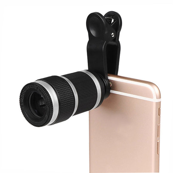Universal 8X Zoom Telescope Phone Camera Lens with Clip