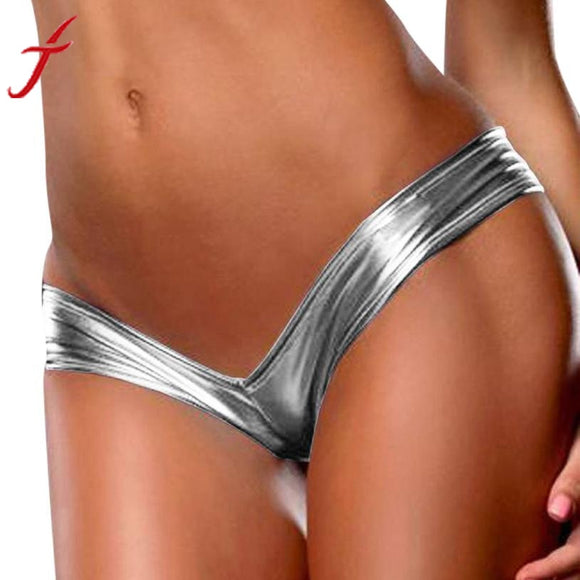 Solid ladies G-String Sexy Underwear  Bare Imitation Leather Underpants