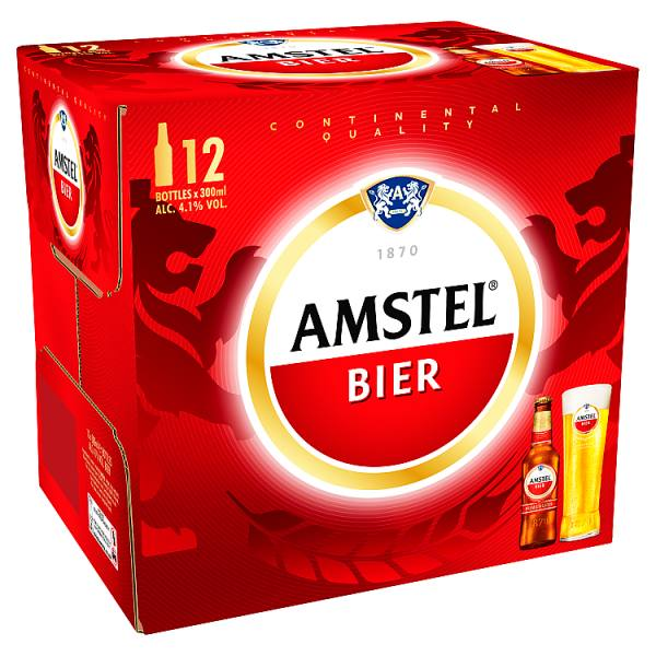 Amstel Lager Beer Bottle 12 x 300ml-Online Groceries EUK Store