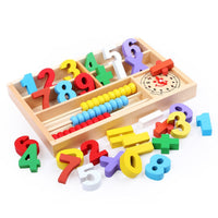 CC-US Wooden Mathematic Box, 4-in-1 Abacus, Blocks, Clock and Math Signs, Arithmetic Learning Toy Gift for Kids
