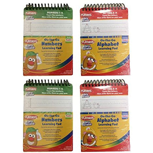 Set of 4 Playskool Dry Erase On-The-Go Alaphabet(A-Z) & Numbers(1-20) Learning Pad 2 of Each