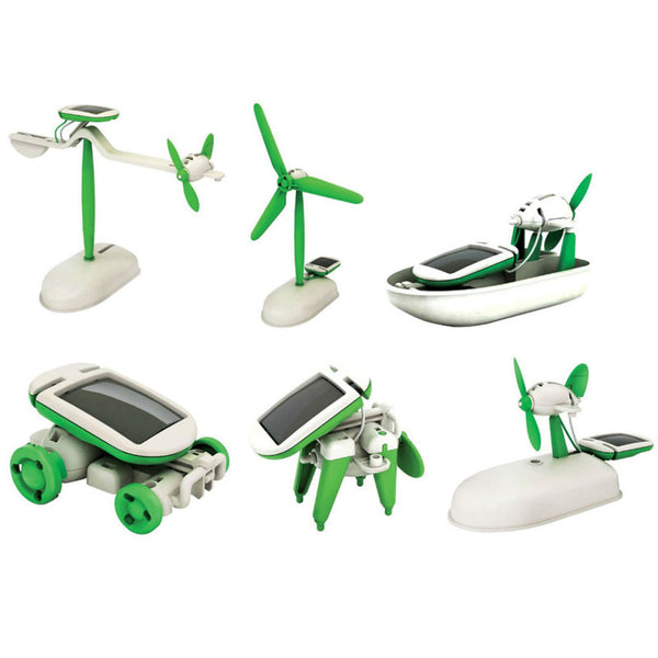 DIY 6 in 1 Solar Educational Kit Toy Boat Fan Car Robot Power Moving Dog