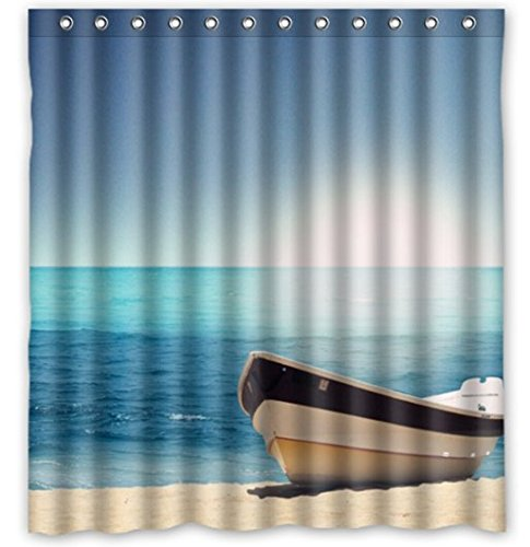 HelloDecor Landscape Ocean Science Diy Picture Shower Curtain Polyester Fabric Bathroom Decorative Curtain Size 60x72 Inches